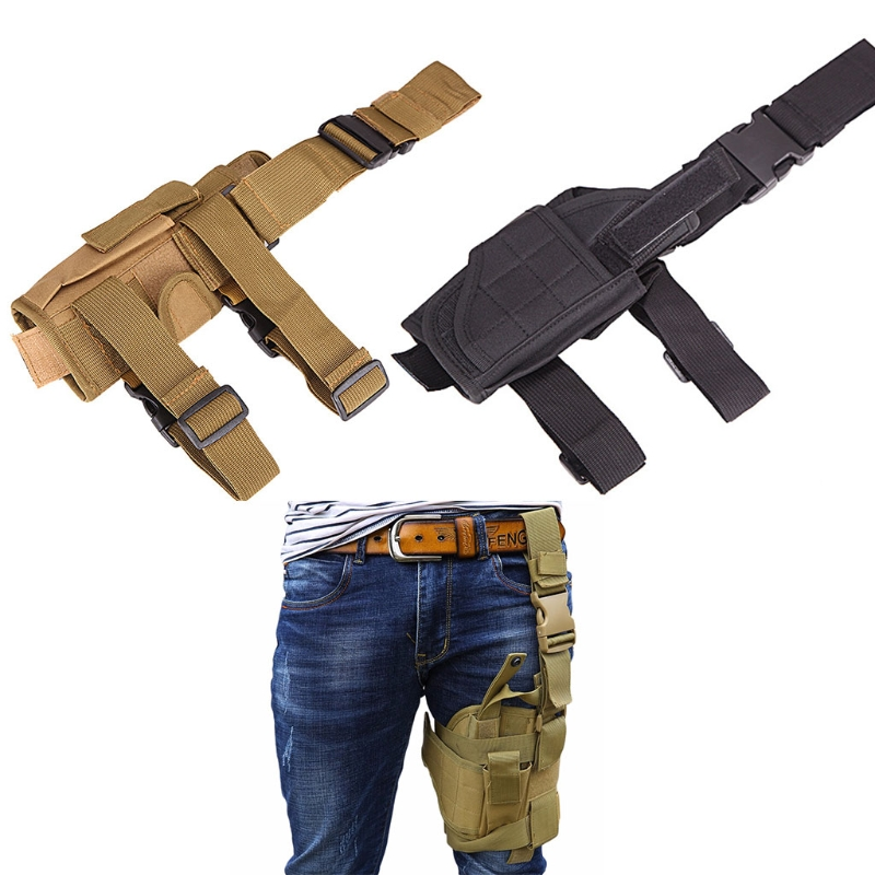 THINKTHENDO Adjustable Army Pistol Gun Drop Leg Thigh Holster Pouch Holder Belt Bag adjustable quick release plastic tactical puttee thigh leg pistol holster pouch for usp45 black