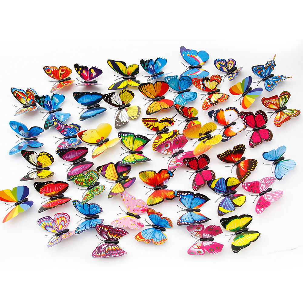 3D 20pcs/Set Colorful Butterfly Sticks Home Yard Lawn Flowerpot Plant Decoration Decorative Garden Ornament DIY Lawn Craft
