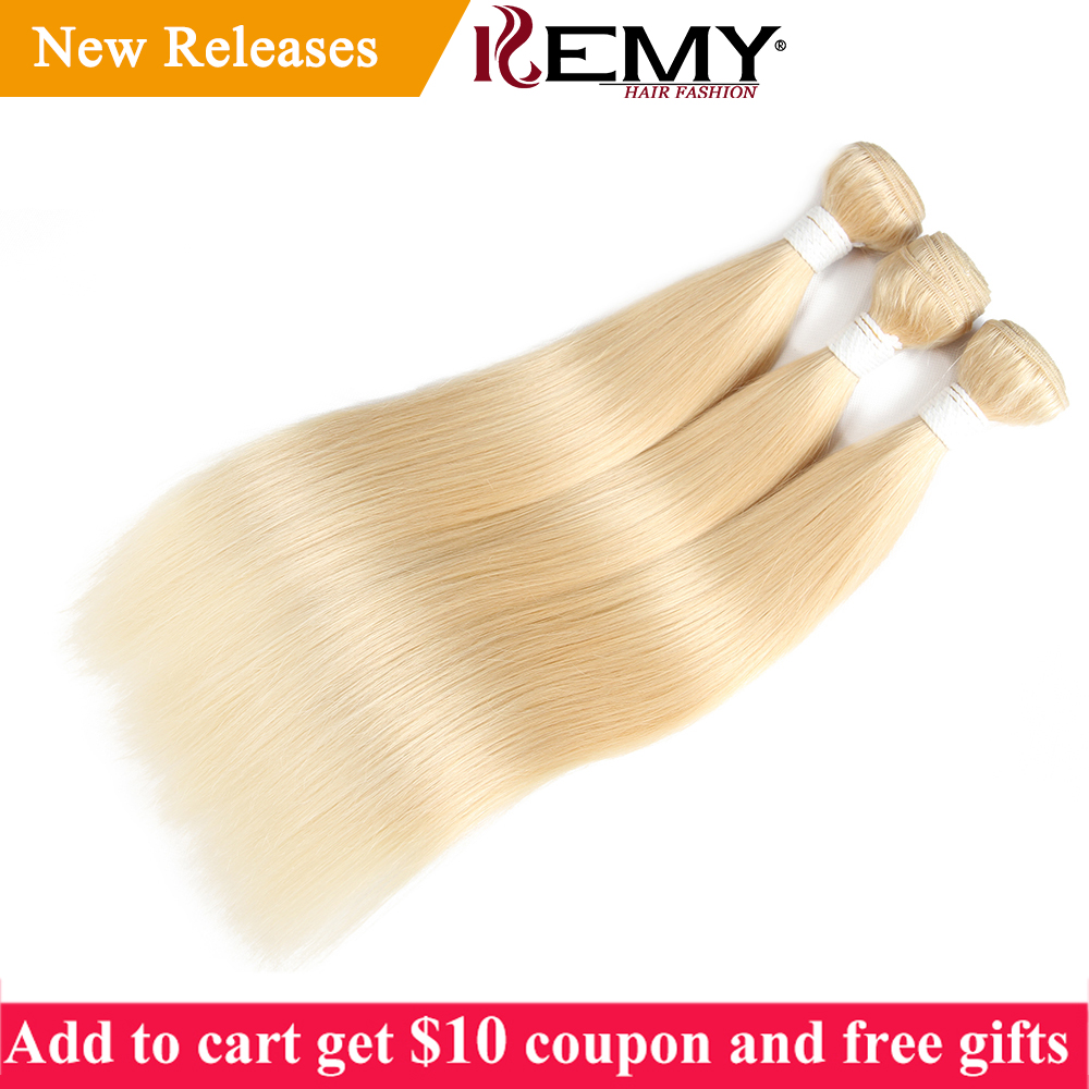 613 Blonde Hair Bundles KEMY HAIR Brazilian Straight Human Hair Weave Bundles 8 to 26 Inches Non Remy Hair Extension 1/2/3 PCS