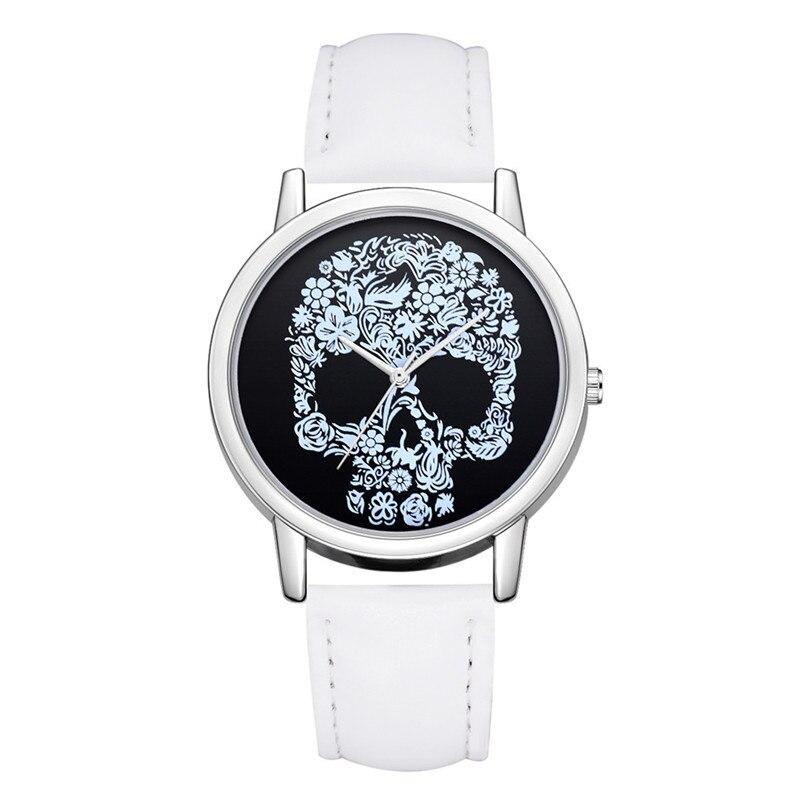 Женские часы, новые модные дизайнерские часы с черепом, кожаный ремешок, кварцевые круглые наручные часы, роскошные повседневные часы, нейт...