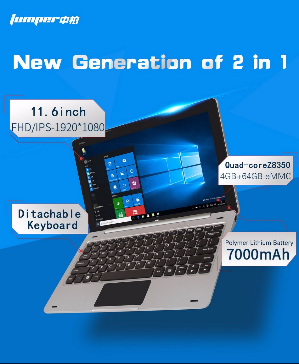 Jumper EZpad 6 Tablet PC 11.6 Inch Windows 10 IPS 1920 x 1080 Intel Cherry Trail Z8350 4GB 64GB HDMI Bluetooth WiFi Laptop (1)