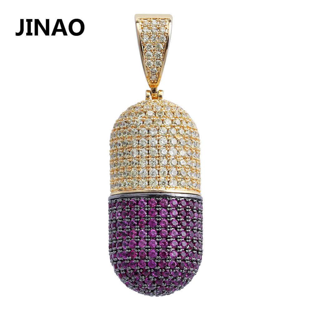 JINAO Hip Hop biżuteria Pill naszyjnik może otworzyć kapsułki wisiorek Cubic cyrkon miedziany naszyjnik Iced Out odpinany Unisex