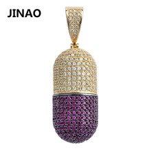 JINAO Hip Hop moda takı hap kolye açabilirsiniz kapsül kolye kübik zirkon bakır kolye dışarı buzlu ayrılabilir Unisex