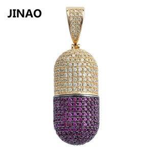 Image 1 - JINAO الهيب هوب مجوهرات الأزياء حبة قلادة يمكن فتح كبسولات قلادة مكعب الزركون النحاس قلادة مثلج خارج انفصال للجنسين