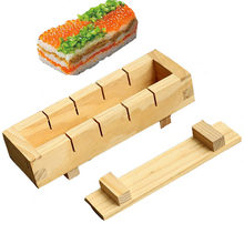 Sushi Maker Rice Mold Wooden Sushi Making Kit Set For Oshizushi Kitchen Accessaries Cooking Tool(China)