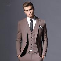 Cncool Для мужчин s пиджак Формальные Бизнес Блейзер Для мужчин Жених 3 предмета Slim Fit Одежда для вечеринки одной кнопки свадебное платье