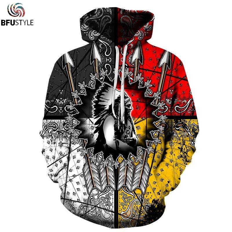 Native American Chief 3D Hoodie Hoodies Men Women New Fashion Autumn Hooded Sweatshirt 2019 Long Sleeve Pullover Hoody Tops 5XL hoodie