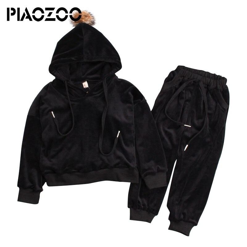 2pcs kids tracksuit hot Sale solid cotton velvet girls sport suits 2018 Hoodies Pants set fall toddler outfits kids clothes P20
