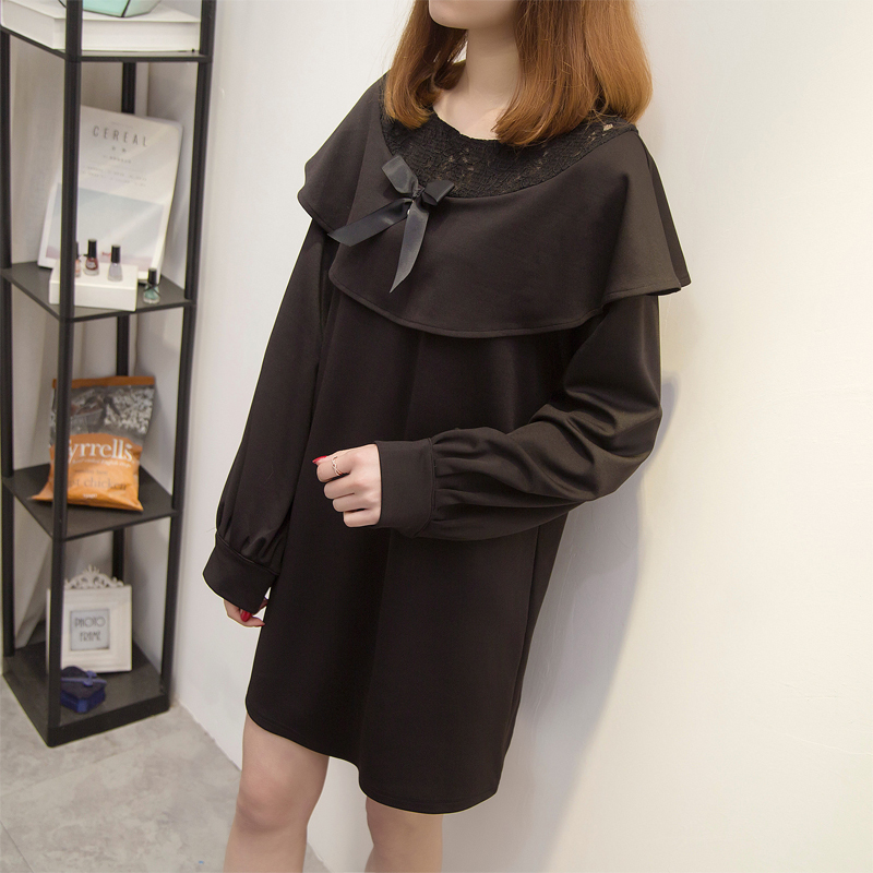 Nkandby Plus size Ladies Dress 2018 New Spring Women Clothing Loose Bow  Lace Collar Ruffles Long sleeve Black Oversize Dresses-in Dresses from  Women s ... 40e61d1cd0aa