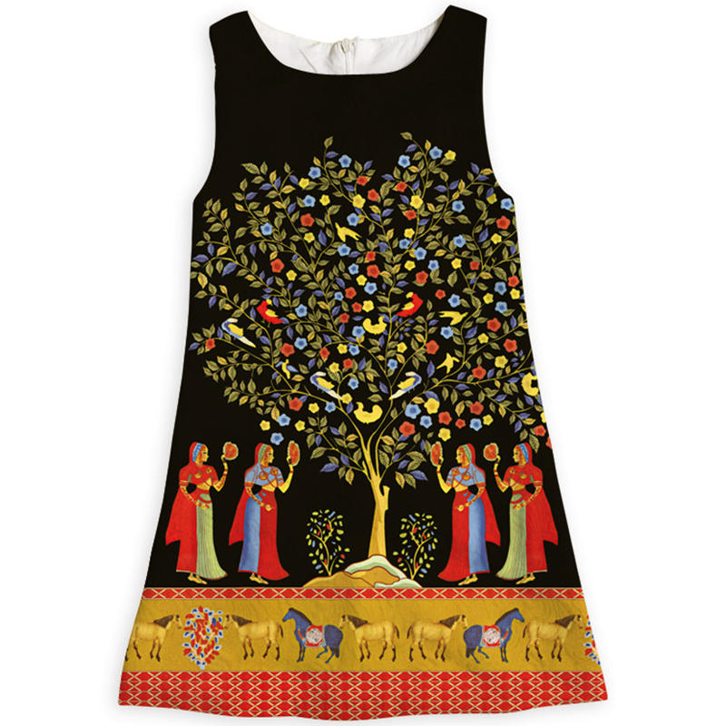 Ethnic style Girl Dresses Clothing Beauty Tree Horse Girls Summer Dress Costume for Kids Clothes A-line Vestido Princess Dress