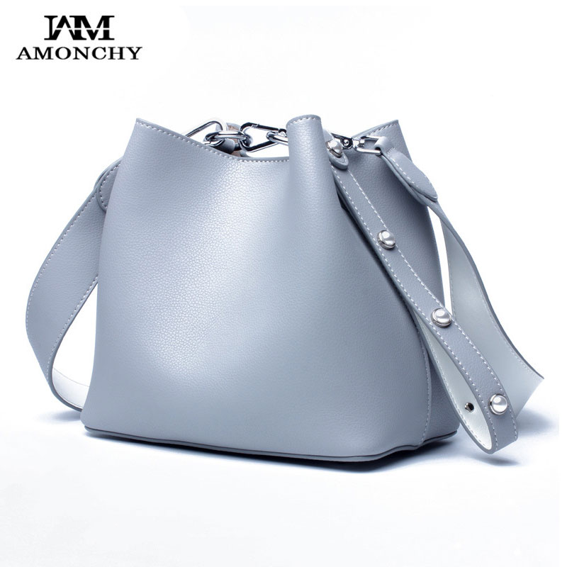 AMONCHY Genuine Leather Women Bags High Quality Cowhide Shoulder Messenger Bags Designer Bucket Bag String Composite Handbags chispaulo women bags brand 2017 designer handbags high quality cowhide women s genuine leather handbags women messenger bag t235