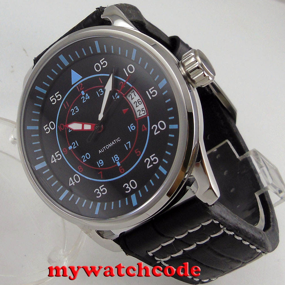 44mm planca black dial blue makrs date miyota 8215 automatic movement mens watch 44mm planca black dial luminous 24 hours miyota automatic movement men s watch men pl1