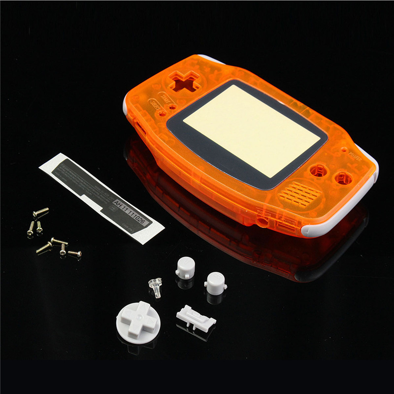 For GBA Transparent Orange Clear Full Set Housing Shell Case Cover Frame Repair Parts For Nintendo For GameBoy Advance