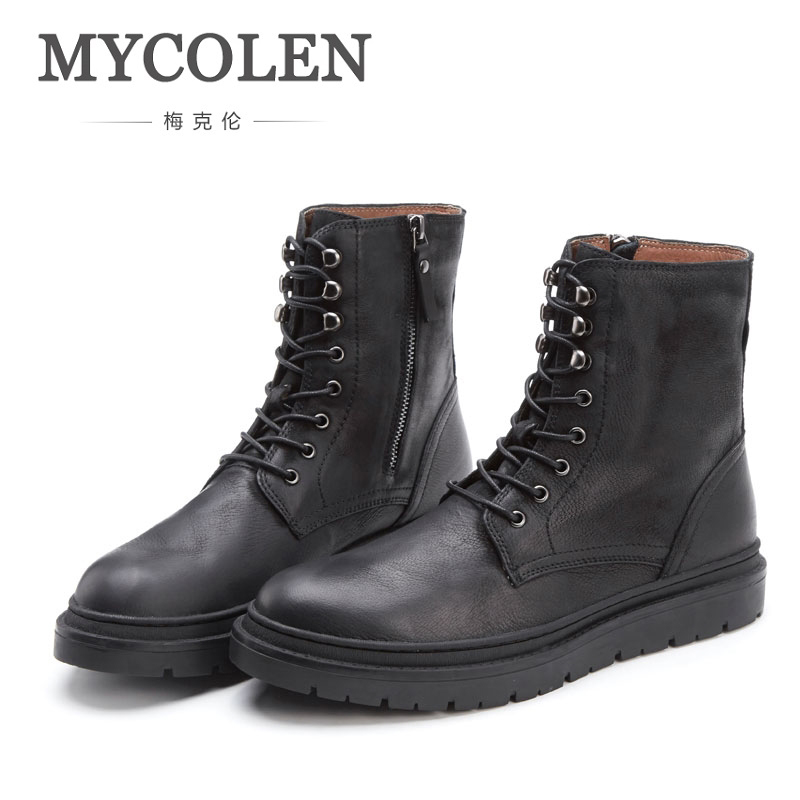 MYCOLEN Winter Genuine Leather Boots Men Shoes Hot Sale Black Handmade Boots Mens Winter Footwear Military Boots Lace-Up BootsMYCOLEN Winter Genuine Leather Boots Men Shoes Hot Sale Black Handmade Boots Mens Winter Footwear Military Boots Lace-Up Boots
