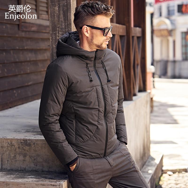 Enjeolon brand fashion thicken winter down hooded jacket men light clothing black Gray coat plus size 3XL down parka MF0101