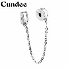 Insignia Safety Chain Beads Fit Pandora Charms Silver 925 Original Bracelet Spring Style Beads for DIY Jewelry Making