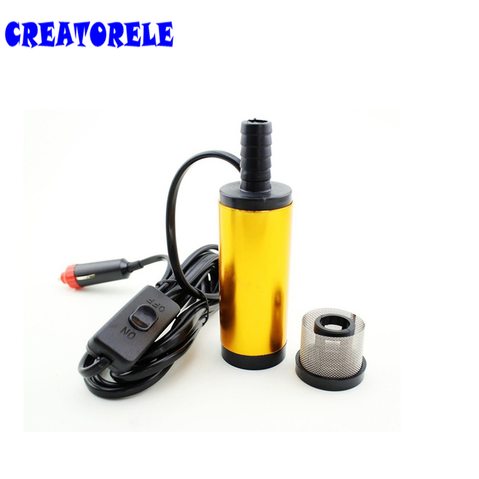 12V Mini Diesel pump Diameter water oil Camping Aluminium Alloy BeIt Filter Net Automobile Adapter fuel transfer 51mm dc 12v water oil diesel fuel transfer pump submersible pump scar camping fishing submersible switch stainless steel