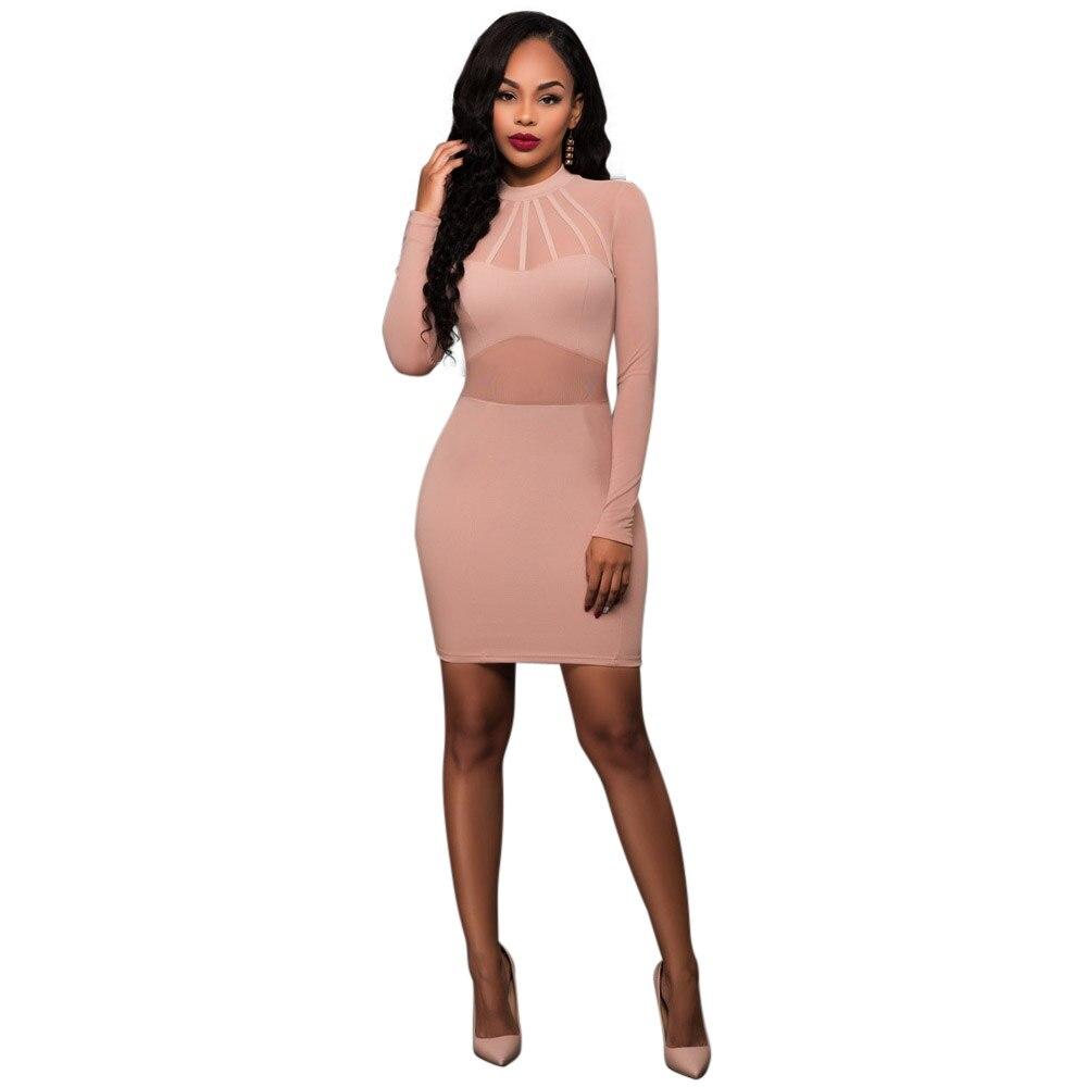 WENDYWU/Лидер ПРОДАЖ Специальные Для женщин пикантные сетчатые в стиле пэчворк с длинными рукавами однотонные розовые облегающее платье мини