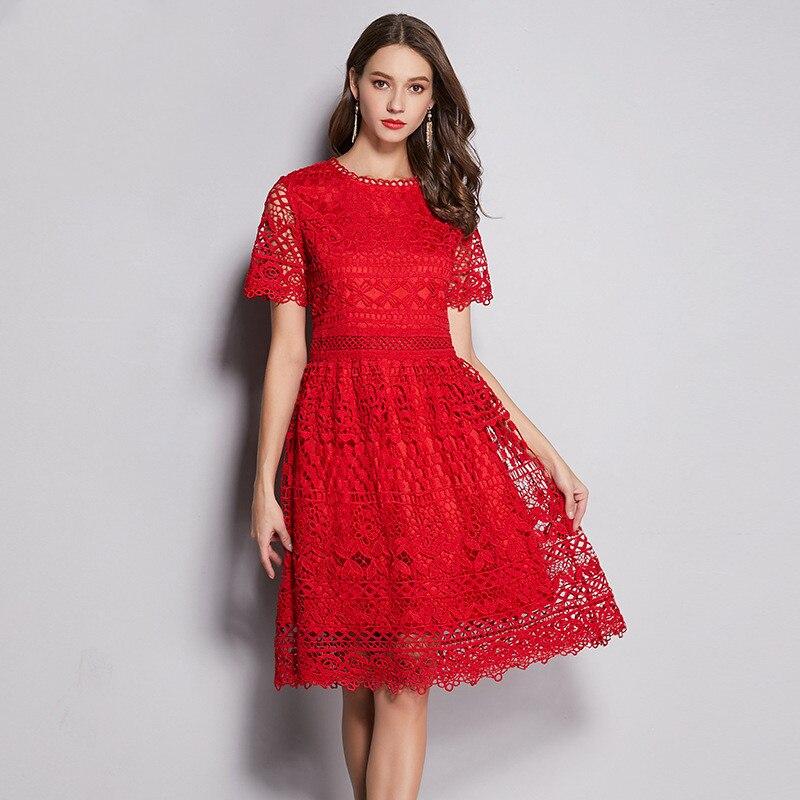 Haute qualité 2019 été designer nouveau robe de grande taille pour les femmes dentelle mince élégant décontracté manches courtes grandes robes rouges 4XL 5XL