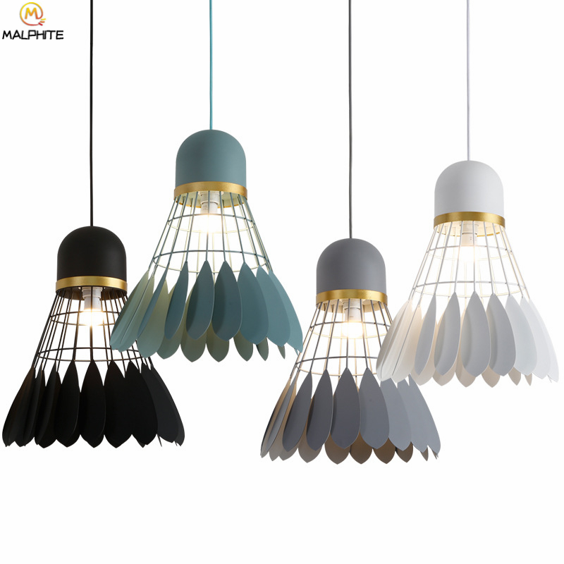Nordic Badminton Pendant Light Simple Restaurant Kitchen Fixtures Pendant Lamp Bar Cafe Iron Macaron Industrial Decor Luminaire in Pendant Lights from Lights Lighting