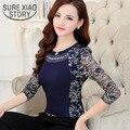 2015 otoño del remiendo delgado de las señoras más tamaño blusa de encaje mujeres de la camisa de manga larga de encaje tops mujeres clothing 901g 40