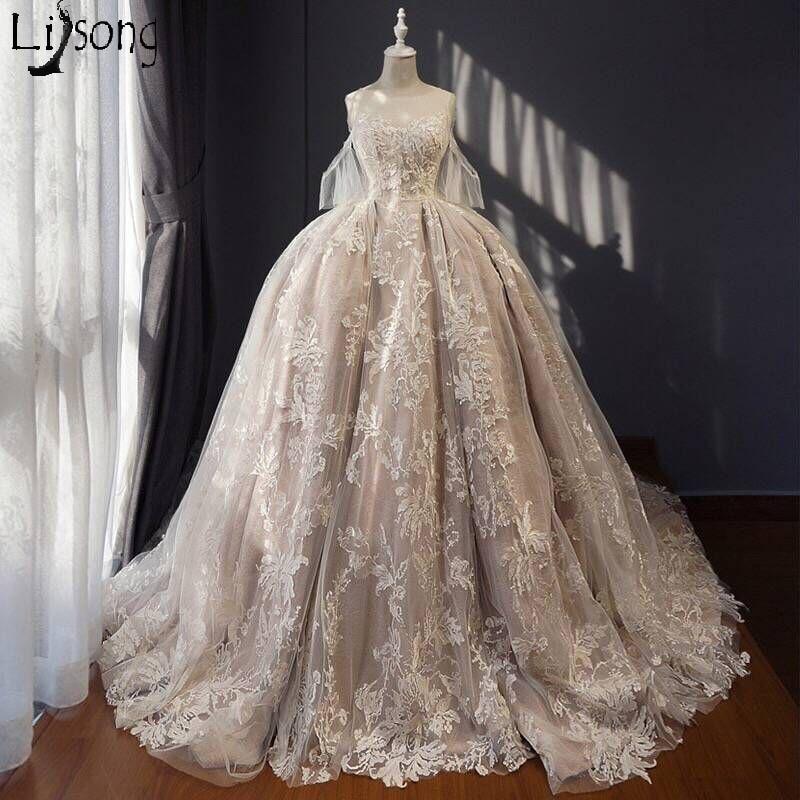 Champagne Wedding Dress Royal Hemline Saudi Arabia Middle East Style Floor Length Luxury Custom Made Bridal