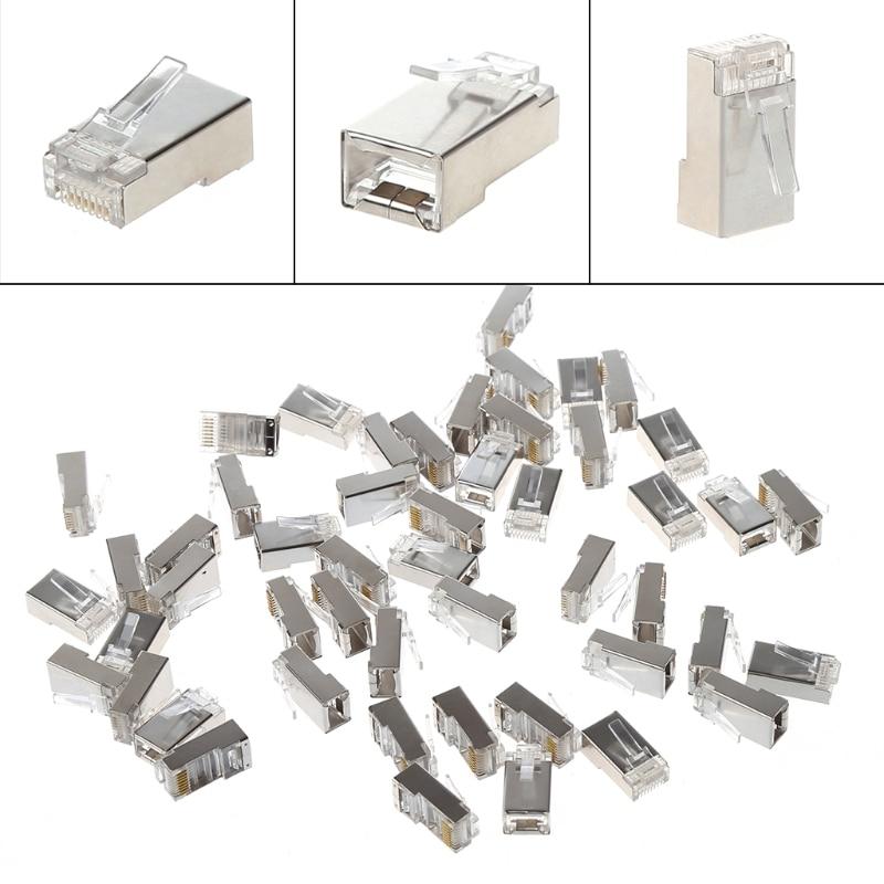 цена на 50 Pcs CAT5 RJ45 8-Pin Shielded Modular Plug Ethernet Network Cable Connector-PC Friend