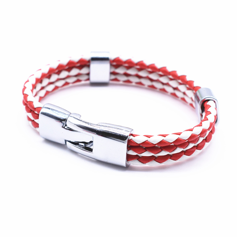 17 Fashion Unisex Jewelry Red String Bracelet 3 Layer Handmade Braided Leather Rope Men Women Hand Strap Charm Bracelet 7