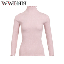 Фотография Winter Sweater Women Fashion 2017 High Elastic Slim Warm Tight Bottoming Thick Warm Sweater Women Elegant Knitted Pullover