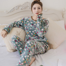 2019 Autumn and winter ladies pajamas flannel 2 sets of sweet lovely coral fleece home service suit M-XXL code