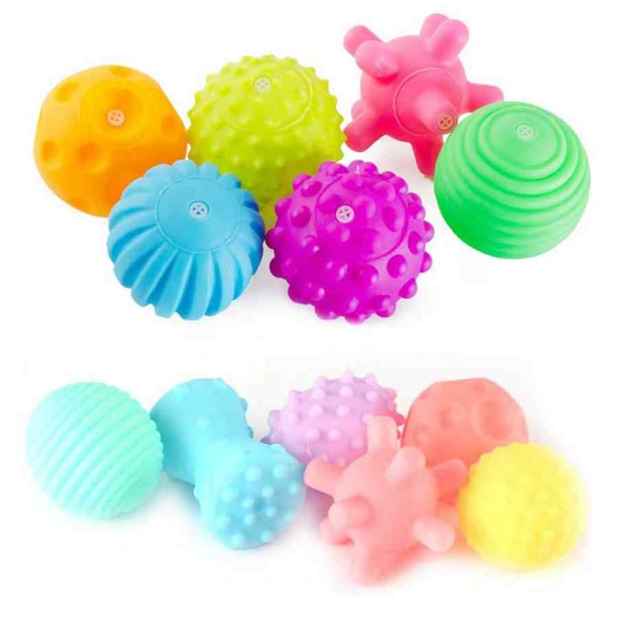 6Pcs/set Baby Touch Hand Ball Toys Infant Training Massage Soft Rubber Textured Multi Sensory Tactile Pinch Bath Hand Ball Toy