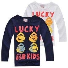 2015 Autumn child t-shirt boys girls child basic shirt cotton Lucky Kids lounge sleepwear long-sleeve T-shirt free shipping