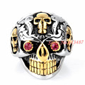 New Arrival Top Design 316L Stainless Steel Silver Gold Skull Mens Boys Punk Biker Ring Cool Xmas Gift Jewelry Size 8-13#