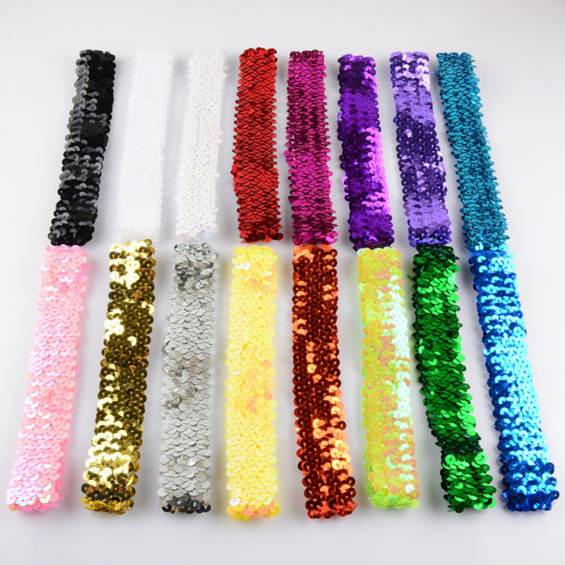 16pcs/lot 16colors Sparkly Fashion Glitter Sequin Elastic Headbands For Christmas Kids DIY Hair Ornaments Accessories