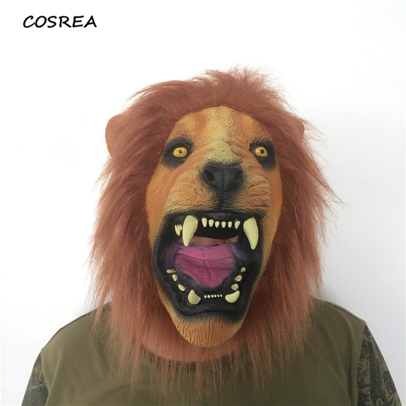 Latex Realistic Halloween Horror Scary Masks Cosplay Full Face Ferocious Angry Lion Head Animal Masquerade Party Silicon Helmet