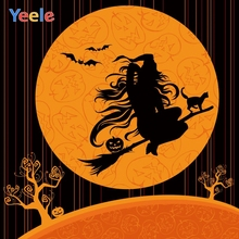 Yeele Halloween Party Night Moon Witch Pumpkin Bats Photography Backdrops Personalized Photographic Backgrounds For Photo Studio