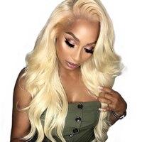 Плотность 150% объемной волны 613 блондинка Синтетические волосы на кружеве парик человеческих волос парики для Для женщин 13x4 предварительно
