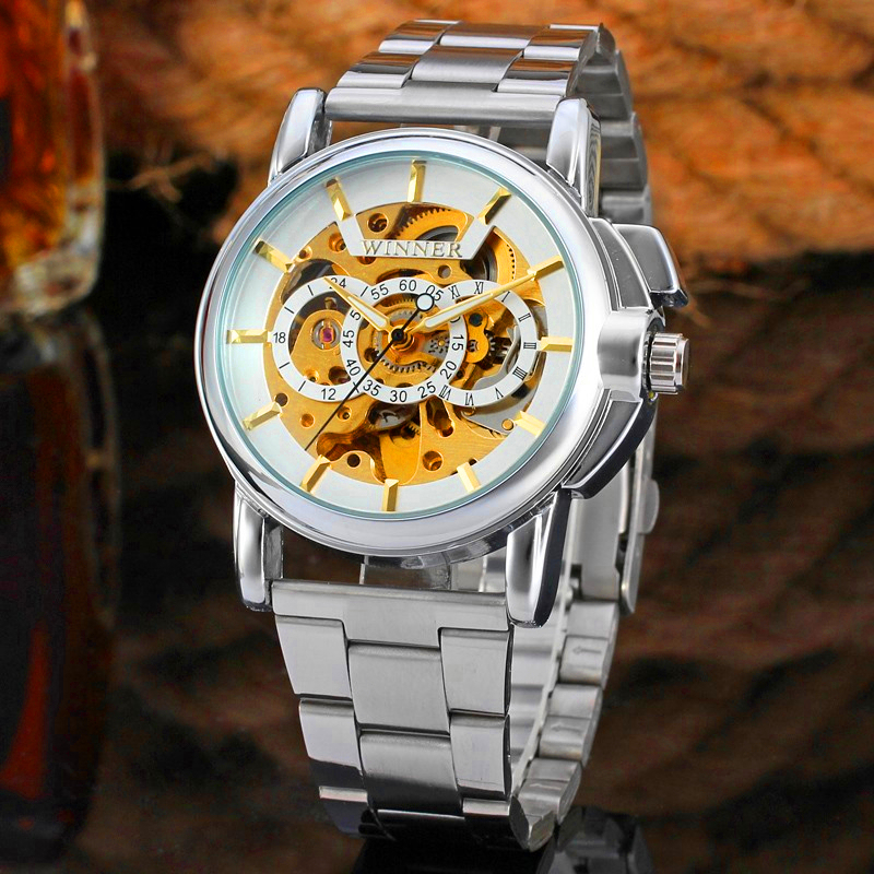 WINNER Brand Men Luxury Business Silver Skeleton Stainless Steel Watch Mechanical Hand Wind Wristwatch Gift Box Relogio Releges top brand winner luxury fashion casual stainless steel men mechanical watch skeleton hand wind watch for men dress wristwatch