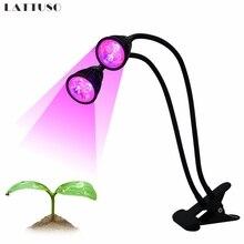 LATTUSO Full Spectrum Dual Head LED Grow Light 10W 360Degree Flexible Clip Desk Lamp Indoor Garden Lighting Plant