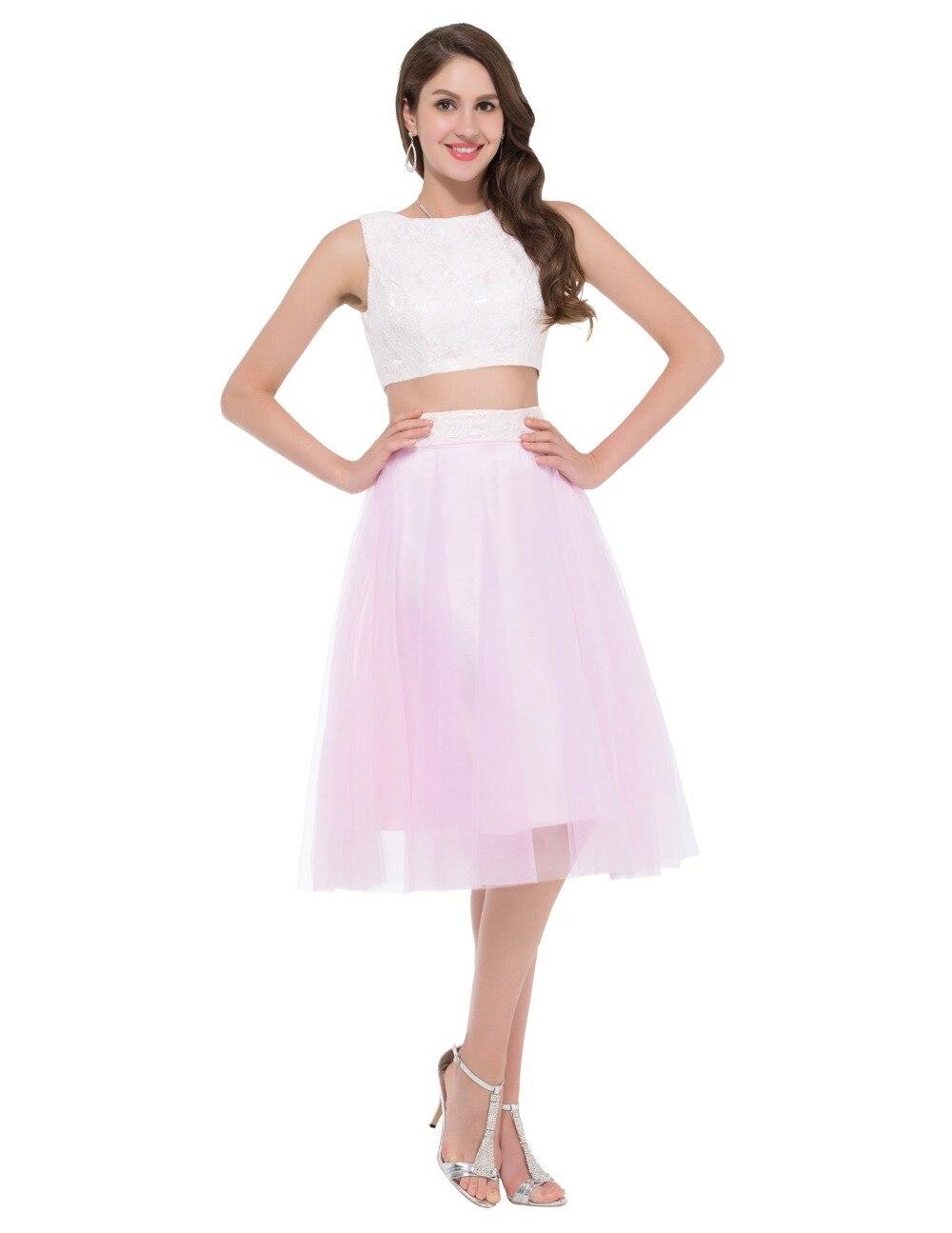 Short 2 Piece Prom Dresses 2016 Grace Karin White Pink Satin Tulle ...