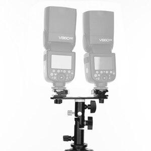 """Image 5 - Black Swivel Camera Double Flash Umbrella Holder Hot Shoe Stand Bracket Tripod Double Flash Bracket 1/4"""" 3/8"""