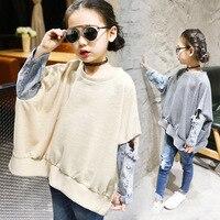 Children's Garment 2017 Korean Spring Children's Garment Children Shirt Split Joint Girl Long Sleeve T-Shirt Kids Clothing