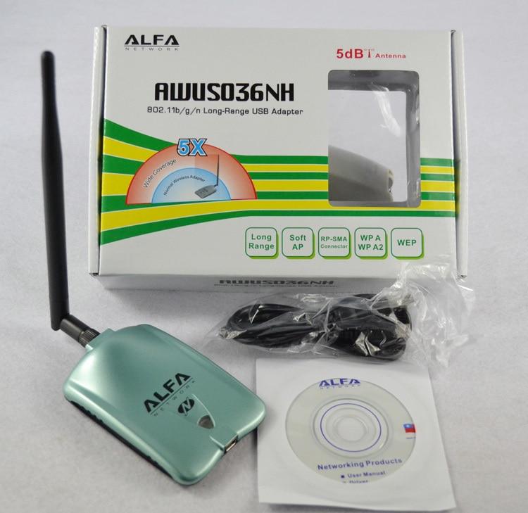ALFA AWUS036NH Ralink red 3070L tarjeta de red Wifi 2000 mW ALFA WiFi USB adaptador con 5dbi anenna 1 Unidades