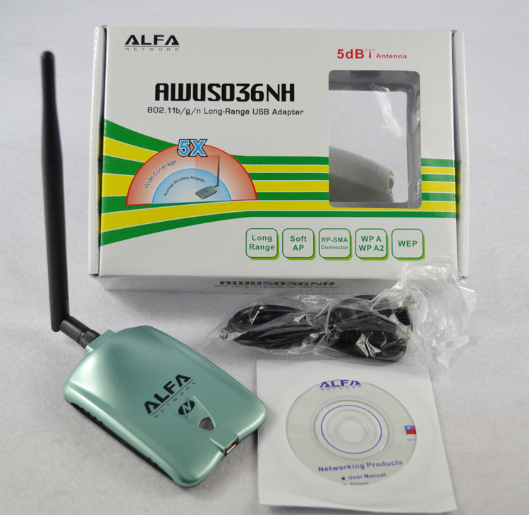 ALFA AWUS036NH red Ralink 3070L Wifi tarjeta de red 2000 MW ALFA WiFi inalámbrico Adaptador USB Con 5dbi anenna 1 Set
