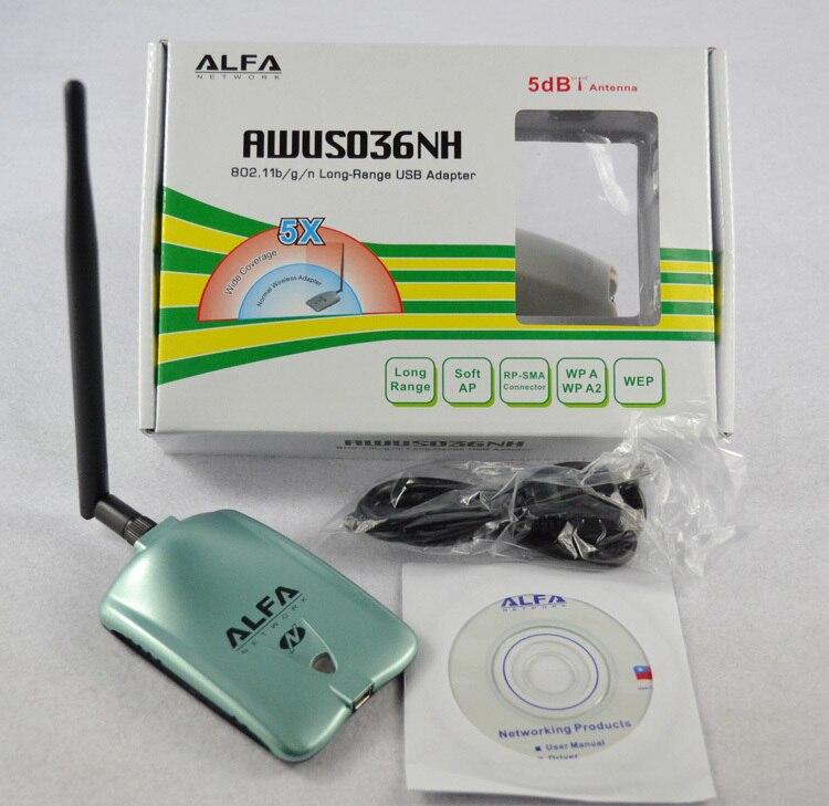 ALFA AWUS036NH red Ralink 3070L Wifi tarjeta de red 2000 mW ALFA WiFi inalámbrico Adaptador USB Con 5dbi anenna 1 Unidades