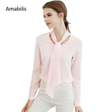 Amabilis Spring Autumn fashion Korean Casual Women Shirt Chiffon Blouse Shirt Office Women Tops high quality Chiffon