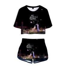 2020 Summer Fashion Sexy Sports Women's Set Cartoon Short Sleeve T-Shirt Print HEIZE Women's 3D Halon T-Shirt + Shorts Plus Size cartoon man print plus size v neck short sleeve men s t shirt