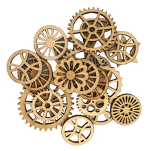 ФОТО 50pcs unfinished wood hollow gear tags cutout wooden pieces embellishments