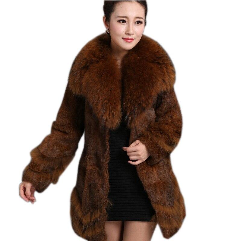 Nueva moda abrigo de piel de mapache cuello de piel de conejo de invierno abrigo largo chaqueta grande de piel natural para mujer talla 3XL 4Xl 5XL-in piel real from Ropa de mujer    1
