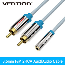 Vention RCA 2 Male to 1 Female 3.5mm Audio Cable Stereo Audio Splitter Y Cable for VCD Sound System Amplifier HDTV Home Theater